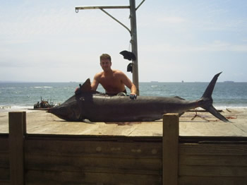Andrew henwood with a Black marlin