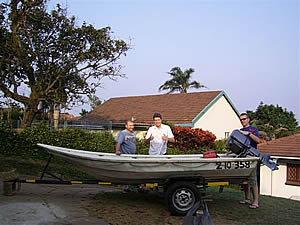 Etienne, Rudi, Johan and Ray with their new boat