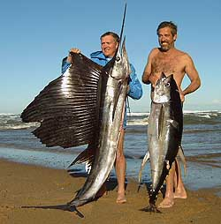 Len Turners saily (30kg) and Willem Pretorius Yellowfin Tuna s(40kg) shot on the Aliwal Shoal